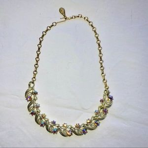 Jewelry - Vintage Gold Necklace with Pink Crystals ~